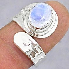 3.10cts natural rainbow moonstone 925 silver adjustable ring size 6.5 t8608