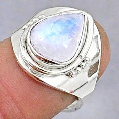 4.05cts natural rainbow moonstone 925 silver adjustable ring size 5.5 t8610