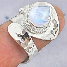 4.25cts natural rainbow moonstone 925 silver adjustable ring size 6.5 t8618