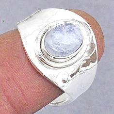 1.87cts natural rainbow moonstone 925 silver adjustable ring size 6.5 t8679