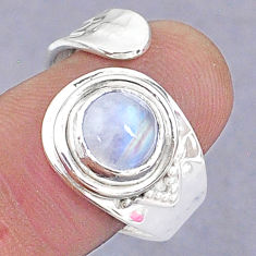 3.29cts natural rainbow moonstone 925 silver adjustable ring size 8.5 t8680
