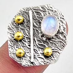 1.64cts natural rainbow moonstone 925 silver gold solitaire ring size 6.5 r37340