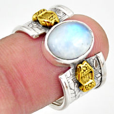 3.91cts natural rainbow moonstone 925 silver gold solitaire ring size 7 d46334
