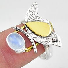 2.20cts natural rainbow moonstone 925 silver gold solitaire ring size 8 r37318