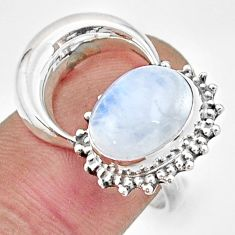 5.38cts natural rainbow moonstone 925 silver half moon ring size 8.5 r26759