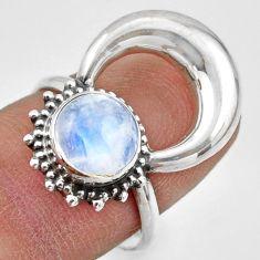3.26cts natural rainbow moonstone 925 silver half moon ring size 7.5 r41639