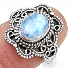 3.02cts natural rainbow moonstone 925 silver half moon ring size 7.5 r41776