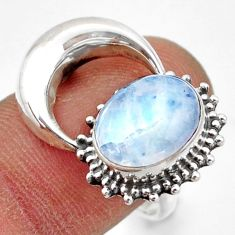 5.11cts natural rainbow moonstone 925 silver half moon ring size 8.5 r41777
