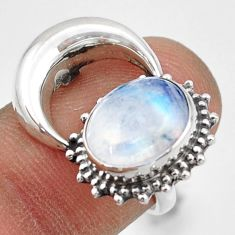 5.11cts natural rainbow moonstone 925 silver half moon ring size 6.5 r41779