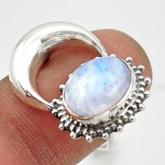 5.23cts natural rainbow moonstone 925 silver half moon ring size 7.5 r41780