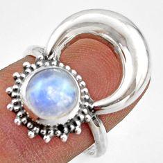 3.01cts natural rainbow moonstone 925 silver half moon ring size 8 r41638