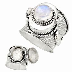 4.51cts natural rainbow moonstone 925 silver poison box ring size 7.5 r26669
