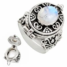 4.73cts natural rainbow moonstone 925 silver poison box ring size 8.5 r26679
