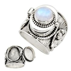 4.59cts natural rainbow moonstone 925 silver poison box ring size 7 r26624