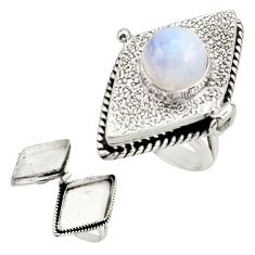 4.80cts natural rainbow moonstone 925 silver poison box ring size 7 r26672
