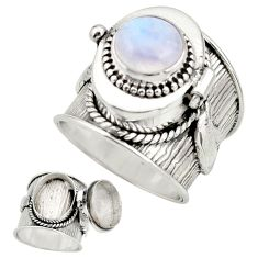 4.60cts natural rainbow moonstone 925 silver poison box ring size 8 r26662