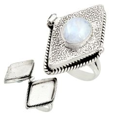 4.17cts natural rainbow moonstone 925 silver poison box ring size 8 r26671