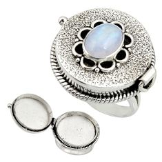 4.59cts natural rainbow moonstone 925 silver poison box ring size 8 r26690