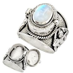 4.02cts natural rainbow moonstone 925 silver poison box ring size 9 r26622