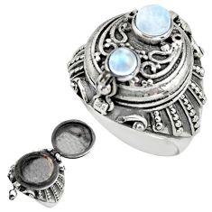 1.27cts natural rainbow moonstone 925 silver poison box ring size 9 r41192