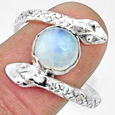 3.29cts natural rainbow moonstone 925 silver snake solitaire ring size 10 r22563