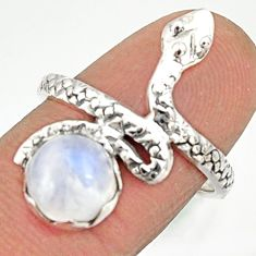 3.50cts natural rainbow moonstone 925 silver snake solitaire ring size 7 r22601