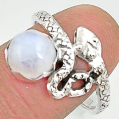 3.48cts natural rainbow moonstone 925 silver snake solitaire ring size 8 r22605