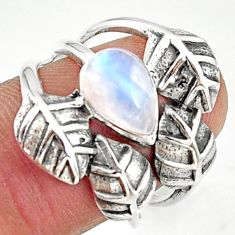 2.51cts natural rainbow moonstone 925 silver solitaire leaf ring size 7.5 r37050