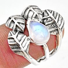 2.44cts natural rainbow moonstone 925 silver solitaire leaf ring size 6.5 r37051