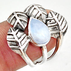 2.35cts natural rainbow moonstone 925 silver solitaire leaf ring size 6.5 r37052