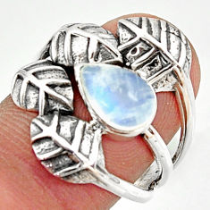 2.63cts natural rainbow moonstone 925 silver solitaire leaf ring size 8.5 r37054