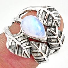 2.73cts natural rainbow moonstone 925 silver solitaire leaf ring size 6.5 r37056