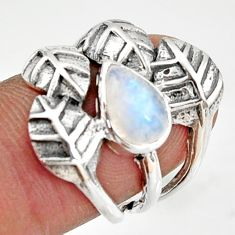 2.19cts natural rainbow moonstone 925 silver solitaire leaf ring size 6.5 r37060
