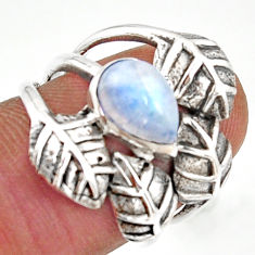 2.44cts natural rainbow moonstone 925 silver solitaire leaf ring size 7 r37058