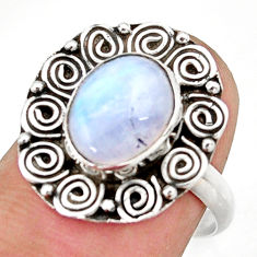4.08cts natural rainbow moonstone 925 silver solitaire ring size 7.5 d46234