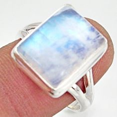 7.51cts natural rainbow moonstone 925 silver solitaire ring size 8.5 d47476