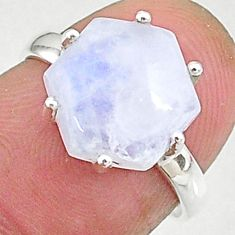 4.57cts natural rainbow moonstone silver solitaire handmade ring size 6 t8315