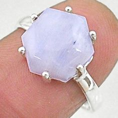 4.86cts natural rainbow moonstone silver solitaire handmade ring size 7 t8287