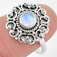 0.76cts natural rainbow moonstone 925 silver solitaire ring jewelry size 8 t2120