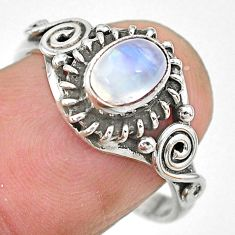 1.54cts natural rainbow moonstone 925 silver solitaire ring jewelry size 8 t7695
