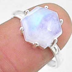 5.18cts natural rainbow moonstone silver solitaire handmade ring size 8 t8290