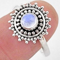 0.86cts natural rainbow moonstone 925 silver solitaire ring jewelry size 9 t2115