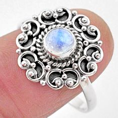 0.98cts natural rainbow moonstone 925 silver solitaire ring jewelry size 9 t2117