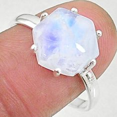 4.45cts natural rainbow moonstone silver solitaire handmade ring size 9 t8320
