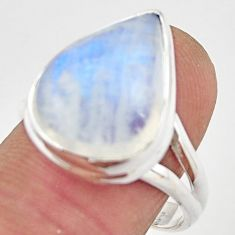 12.83cts natural rainbow moonstone 925 silver solitaire ring size 8.5 r21461