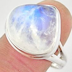 11.95cts natural rainbow moonstone 925 silver solitaire ring size 9.5 r21469