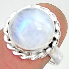 6.29cts natural rainbow moonstone 925 silver solitaire ring size 7.5 r22105
