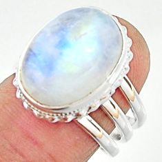 11.42cts natural rainbow moonstone 925 silver solitaire ring size 7.5 r22115