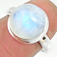 5.36cts natural rainbow moonstone 925 silver solitaire ring size 6.5 r22147