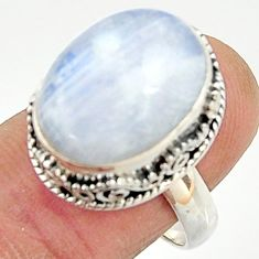 10.44cts natural rainbow moonstone 925 silver solitaire ring size 8.5 r22315